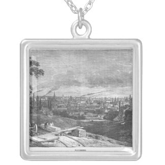 View of Manchester, engraved by T.Gustyne Silver Plated Necklace