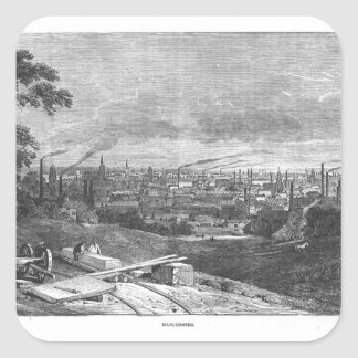 View of Manchester, engraved by T.Gustyne Square Sticker