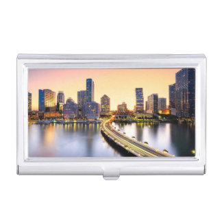 View of Mandarin Oriental Miami with reflection Business Card Holder