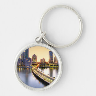 View of Mandarin Oriental Miami with reflection Silver-Colored Round Key Ring