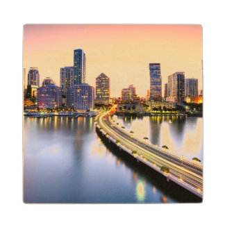 View of Mandarin Oriental Miami with reflection Wood Coaster