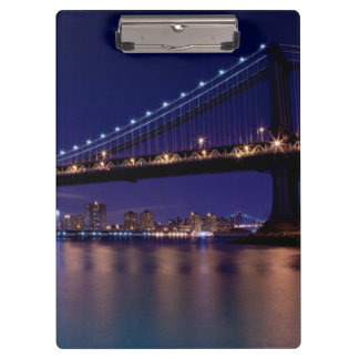 View of Manhattan bridge at night Clipboard