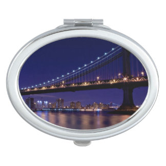 View of Manhattan bridge at night Compact Mirror