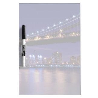 View of Manhattan bridge at night Dry Erase Board