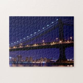 View of Manhattan bridge at night Jigsaw Puzzle
