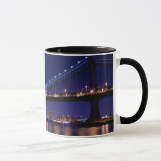 View of Manhattan bridge at night Mug