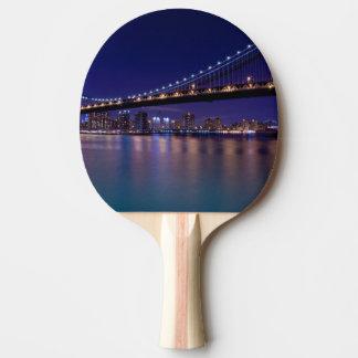 View of Manhattan bridge at night Ping Pong Paddle