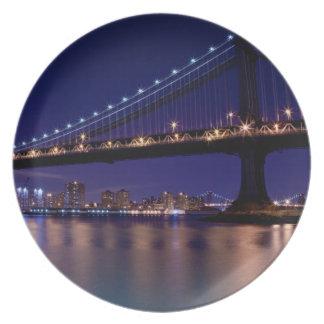 View of Manhattan bridge at night Plate