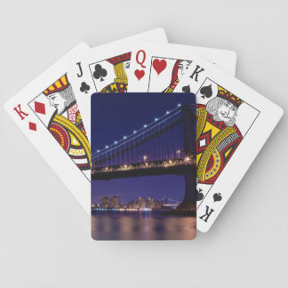 View of Manhattan bridge at night Playing Cards