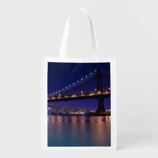 View of Manhattan bridge at night Reusable Grocery Bag
