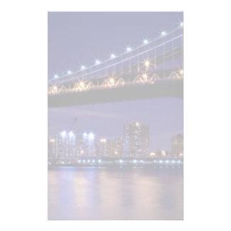 View of Manhattan bridge at night Stationery