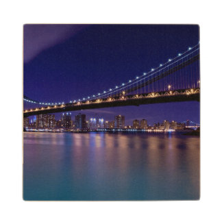 View of Manhattan bridge at night Wood Coaster