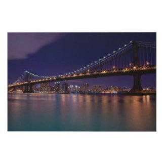 View of Manhattan bridge at night Wood Print