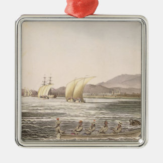 View of Manila, Philippines, 1826 Silver-Colored Square Decoration