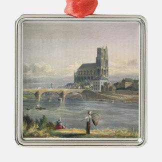 View of Mantes, from 'Views on the Seine', engrave Christmas Ornament