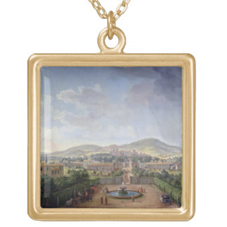 View of Marino, 1719 (oil on canvas) Square Pendant Necklace
