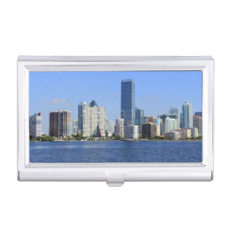 View of Miami Skyline Business Card Holder