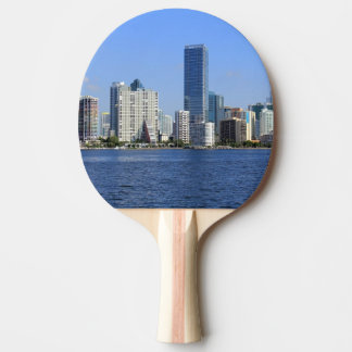View of Miami Skyline Ping Pong Paddle