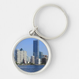 View of Miami Skyline Silver-Colored Round Key Ring
