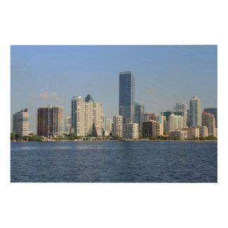 View of Miami Skyline Wood Wall Decor