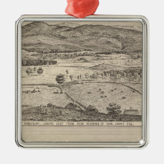 View of Middlebury and farm Christmas Ornament