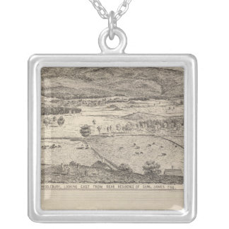 View of Middlebury and farm Silver Plated Necklace