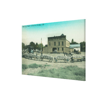 View of Millers Hauling Grain to Mill Stretched Canvas Prints