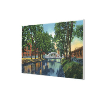 View of Mills Along the Canal Stretched Canvas Print