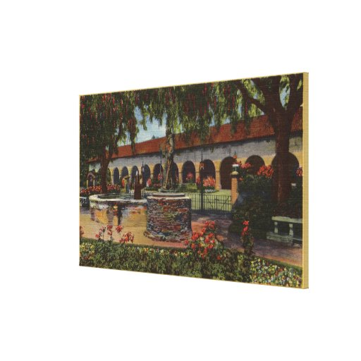 View of Mission, Memory Garden, Serra Statue Canvas Prints