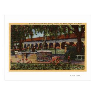 View of Mission, Memory Garden, Serra Statue Postcard