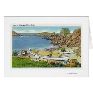View of Monhegan Island, Beach Scene Card