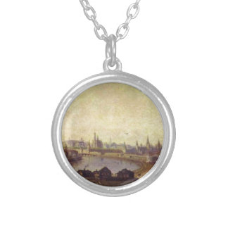 View of Moscow by Maxim Vorobiev Round Pendant Necklace