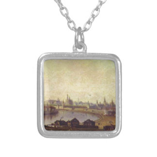View of Moscow by Maxim Vorobiev Square Pendant Necklace