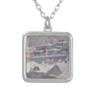 View of Moscow by Vasily Surikov Square Pendant Necklace