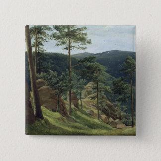 View of Mount Brocken, 1829 15 Cm Square Badge