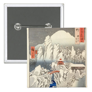 View of Mount Haruna in the Snow 15 Cm Square Badge