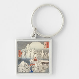 View of Mount Haruna in the Snow Silver-Colored Square Key Ring