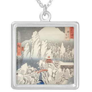 View of Mount Haruna in the Snow Silver Plated Necklace