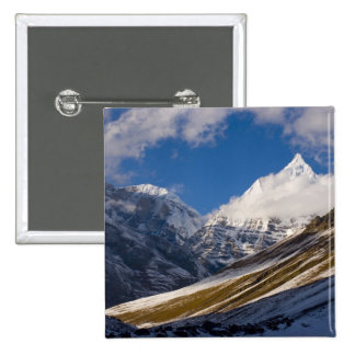 View of Mount Jichu Drake, Bhutan. 15 Cm Square Badge