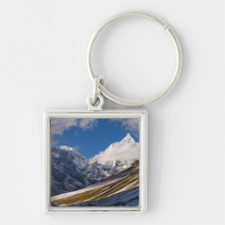 View of Mount Jichu Drake, Bhutan. Silver-Colored Square Key Ring