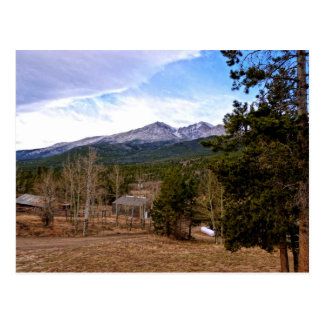 View of Mountains in Distance - Estes Park Postcard