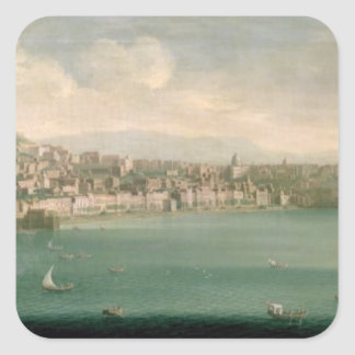 View of Naples from the west, 1730 Square Sticker