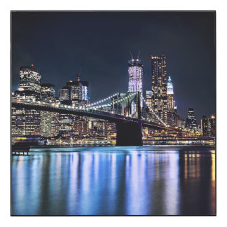 View of New York's Brooklyn bridge reflection
