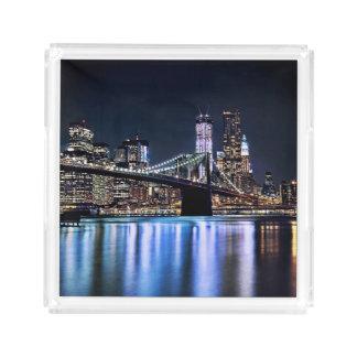 View of New York's Brooklyn bridge reflection Acrylic Tray