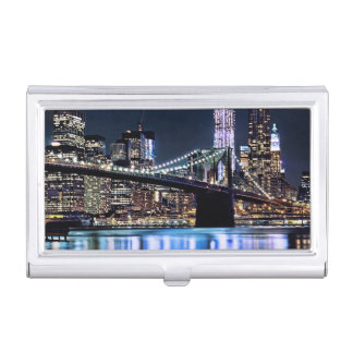 View of New York's Brooklyn bridge reflection Business Card Holder