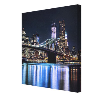 View of New York's Brooklyn bridge reflection Canvas Print