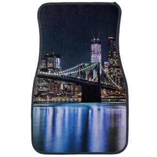 View of New York's Brooklyn bridge reflection Car Mat