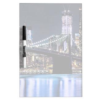 View of New York's Brooklyn bridge reflection Dry Erase Board