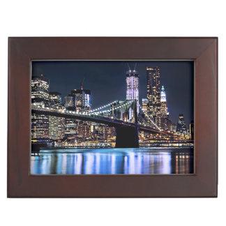 View of New York's Brooklyn bridge reflection Keepsake Boxes