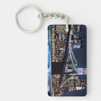View of New York's Brooklyn bridge reflection Key Ring